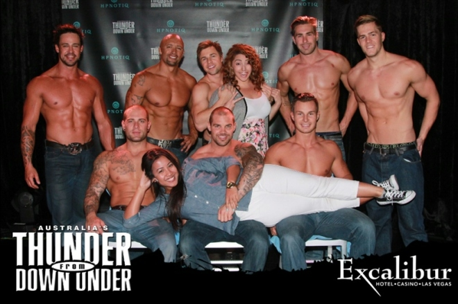 Maureen Mariano posing with the blokes of Australia's Thunder from Down Under at the Excalibur Hotel and Casino in Las Vegas.