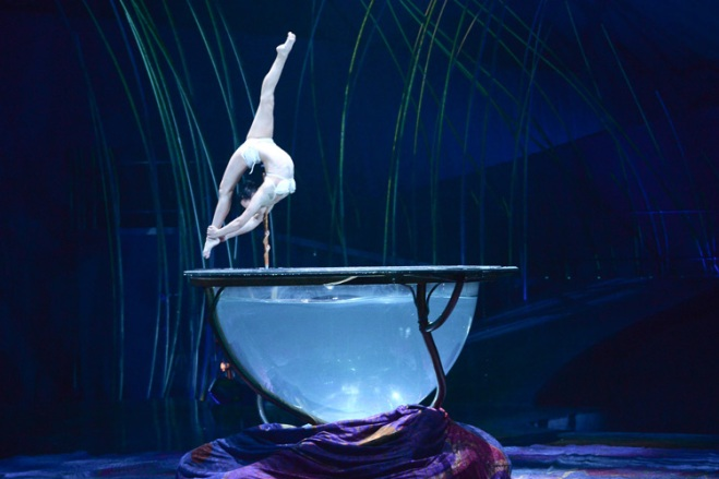 Miranda showcases her incredible physicality on top of a water bowl in Amaluna by Cirque du Soleil.