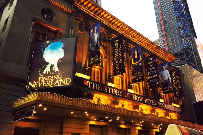 Finding Neverland The Musical marquee in New York City was greeted after the pre-show networking event by TicketsatWork.