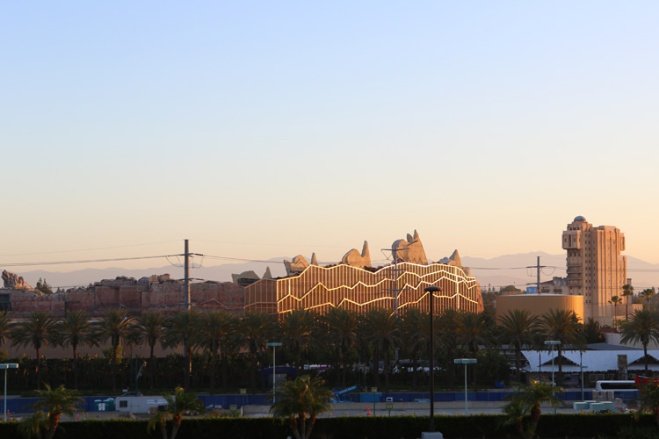 The balcony view from the Hilton Anaheim Hotel near Disneyland, you can see Cars Land and Tower of Terror at California Adventure.