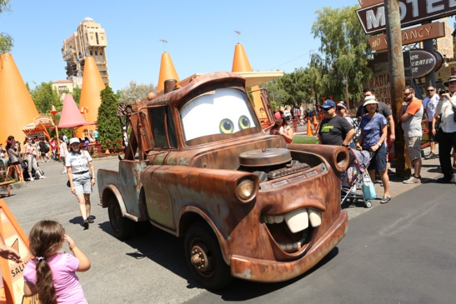 Mater led the way into Cars Land at Disney California Adventure theme park.