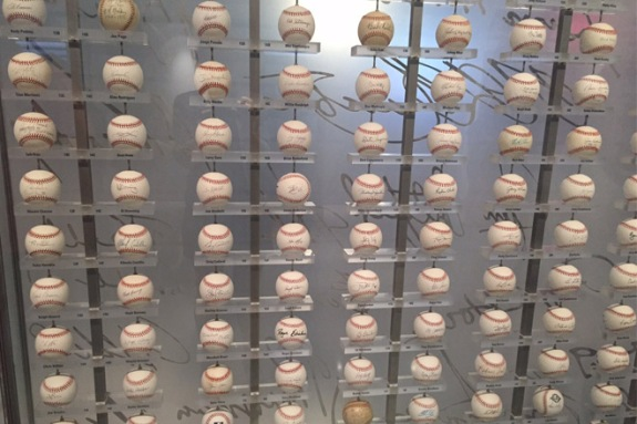 Yankee memorabilia included signed balls from Yankee greats.