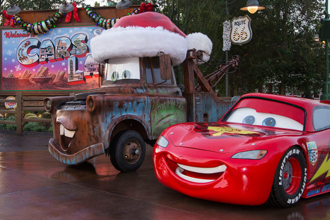 Cars Land at Disneyland celebrates the holidays