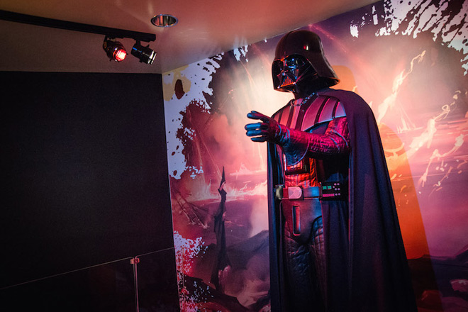 Darth Vader's costume is among the iconic pieces found in Discovery Times Square