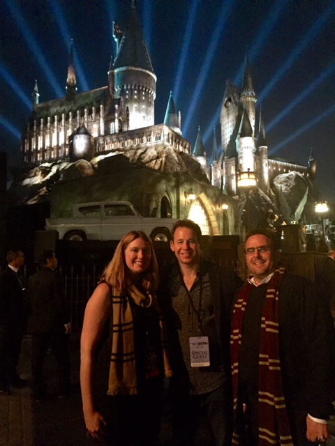 EBG's CEO Brett Reizen with Eric Sheppard and Ali Kirchen Schmidt, of Universal Studios Hollywood, spotted at the opening of the Wizarding World of Harry Potter at Universal Studios Hollywood.