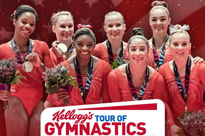 See Olympic Gold Medalist Simone Biles in action in the Kellogg's Tour of Champions