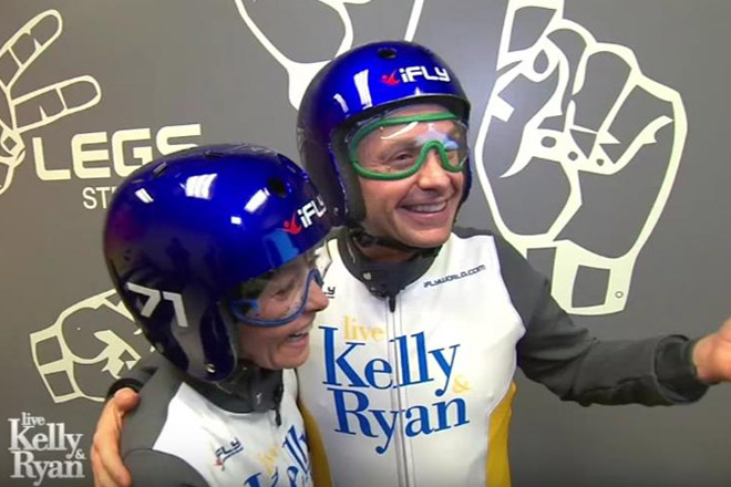 Kelly Ripa and Ryan Seacrest take their relationship to new heights at iFLY! Book your flights with discount tickets from TicketsatWork.com!