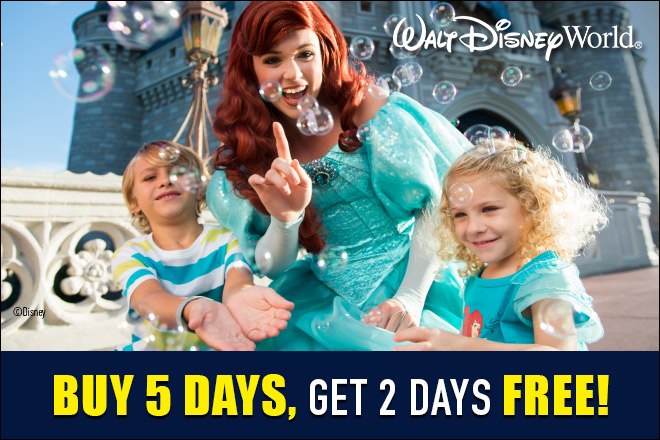 Exclusive Walt Disney World Offer: Buy 5 Days, Get 2 Days Free
