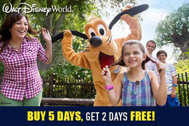 Buy a Walt Disney World® 5 Day Park Hopper® or Park Hopper Plus® Ticket, and get 2 Extra Days FREE!