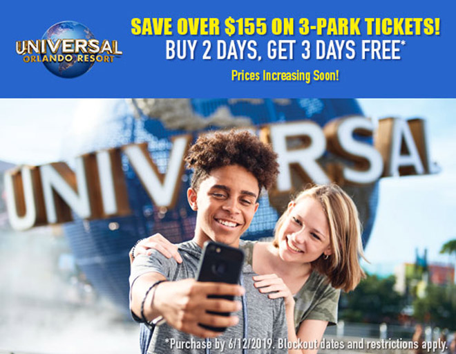 Prices Increasing Soon! Save Big on Universal Orlando 3-Park Tickets